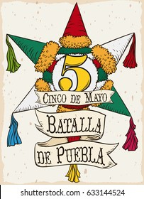 Poster with beautiful hand drawn design of a traditional Mexican pinata with ribbon to commemorate Battle of Puebla in Cinco de Mayo (written in Spanish).