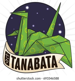 Poster with beautiful origami crane (also called orizuru) made with floral green paper over a label with starry design and greeting label for Tanabata Festival (written in Japanese).