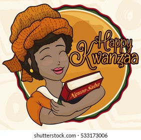 Poster with beauty smiling dark skinned lady celebrating Kwanzaa holding a book with the Seven Principles of African Heritage (or Nguzo Saba).