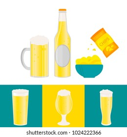 Poster with beer bottle, mugs, glasses, potato chips, sausage. Vector icon with alcoholic beverages. Wheat  lager, craft  ale