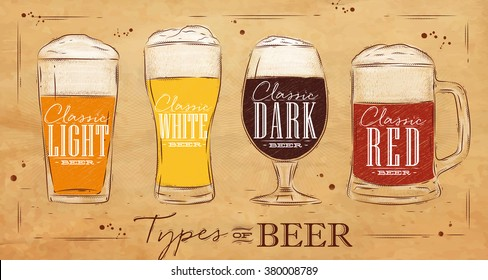 Poster beer with four main types lettering classic, light, white, dark, red drawing in vintage style on kraft background