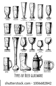 Poster with Beer glassware types infographic. Illustration in ink hand drawn style.