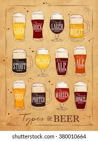 Poster beer main types lettering lager, bock, dark, wheat, stout, pilsner, ale, cider, porter, marzen, dunkel drawing in vintage style on kraft background