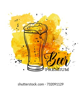 Poster beer mug on a yellow watercolor splash. Vector illustration in old ink sketch style.
