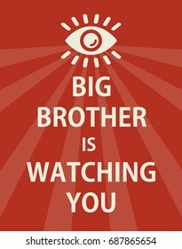 Poster big brother is watching you - isolated vector illustration
