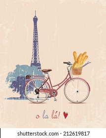 The poster with the bike and French baguettes in vintage style. Silhouette of the Eiffel tower. Vector illustration.
