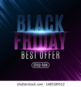 Poster for Black Friday sale. Glowing neon text with flying paticles. Modern design for your business project. Purple and blue rays. Vector illustration. EPS 10