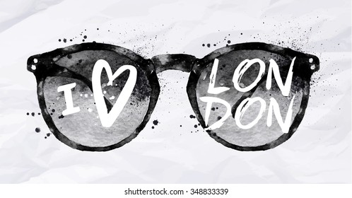 Poster with black sunglasses with an inscription I love London drawing on crumpled paper