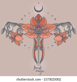 Poster with blooming of uterus, crescent and stars, female sacral symbols, can be used for tattoo or for gynecology, vector illustration