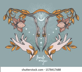Poster with blooming of uterus, female hands, moon and stars, sacral symbols, can be used for tattoo or for gynecology, retro style colors, vector illustration