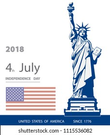 Poster. Blue Linear Picture. Independence Day, USA. Statue of Liberty, book. 2018. National Symbol of America. Illustration, white, background. Use presentations,corporate reports, text,postcards,vect