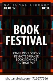 Poster Book Festival. Book shelf or bookcase. Vector illustration