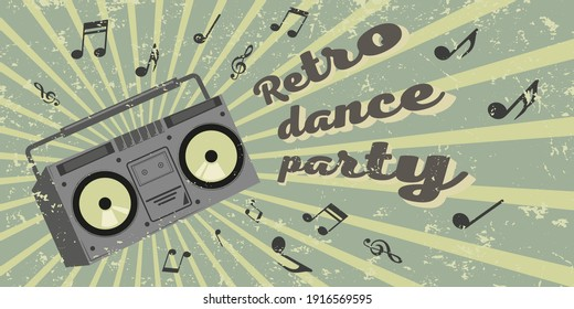 poster with boombox and lettering dance party retro style