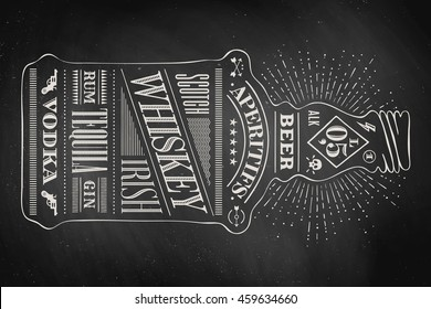 Poster bottle of alcohol with hand drawn lettering. Drawing for pub, bar menu, alcohol card, t-shirt print. Isolated bottle of alcohol with lettering on chalkboard. Vector Illustration