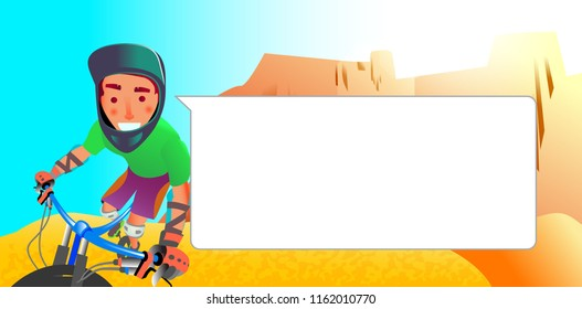 Poster with boy on mountain bike with blank bubble talk. Cartoon style caracter design. Vector illustration.