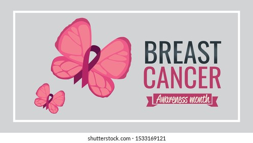 poster breast cancer awareness month with butterflies and ribbon vector illustration design