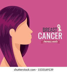 poster breast cancer awareness month with profile of woman vector illustration design