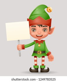 Poster broadsheet advert christmas elf boy santa claus helper new year holiday 3d cartoon design vector illustration