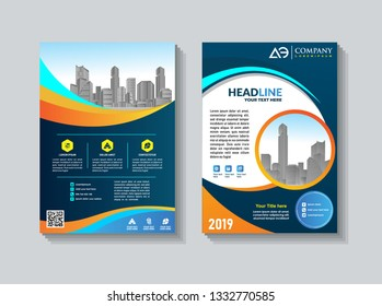 Poster brochure flyer design template vector, Leaflet cover presentation abstract geometric background, layout in A4 size