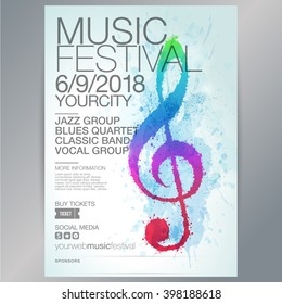 Poster or brochure template with illustration treble clef. Design with splashes of color. Watercolor effect. Vector.