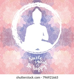 Poster with Buddha silhouette on artistic background, can be used for yoga studio, romantic palette, vector illustration