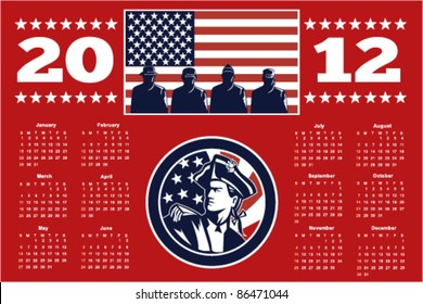 poster calendar 2012 showing American Patriot Minuteman and soldiers with USA stars and stripes flag done in retro style