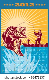 poster calendar 2012 showing Largemouth Bass jumping with fly fisherman fishing on boat done in retro style