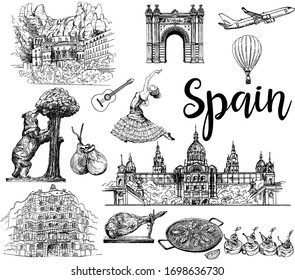 Poster / card / composition of colorful hand drawn sketch style Spain related objects isolated on white background. Vector illustration.