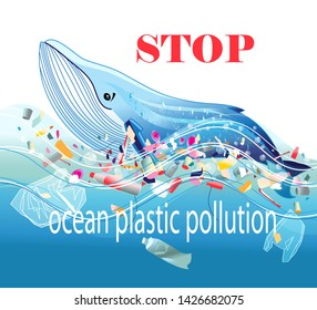 Poster or card design to Stop Ocean Plastic Pollution with a baleen whale swimming through a mass of discarded single use plastic containers floating on blue waves in an environmental concept