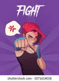 Poster, card or t-shirt print with angry boxing girl with blue boxing bandages, and red hair. Trendy anime style vector illustration