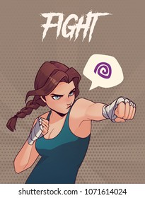Poster, card or t-shirt print with angry boxing girl with boxing bandages. Trendy anime style vector illustration