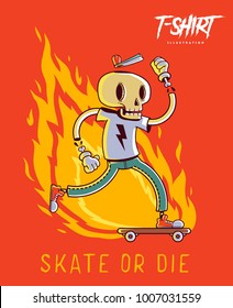 Poster, card or t-shirt print with stylish skeleton skater. Trendy hipster style illustration. Vector