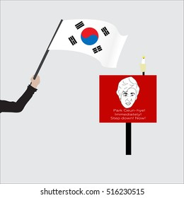 """poster with cartoon depicting President South Korea-shirt """"Park Geun-hye! Today! Step down! Immediately! Step down! Now!"""". Used during protests in November 2016. The hand with the flag."""