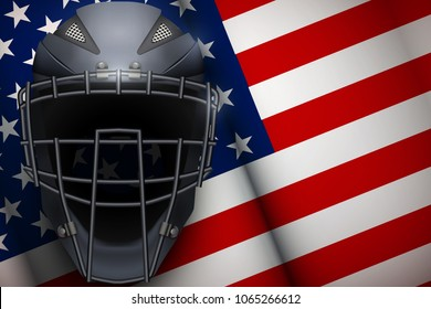 Poster of Catcher Mask Helmet on American Flag Backgound. Baseball and Softball Games. Sport equipment and gear. Vector Illustration