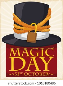 Poster with chained hat representing the escapist abilities of the magicians in Magic Day.