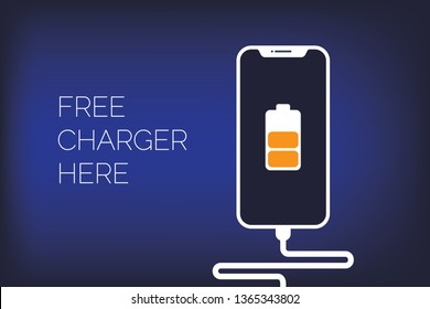 Poster for charging mobile phones using a USB connection. The battery icon shows the charging process. Free Charger. Flat style. Top view. Vector illustrations Eps 10