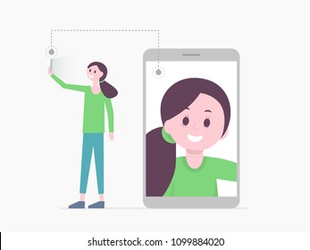 Poster with cheerful young woman standing taking self portrait and screen of smartphone on which girl image is displayed. Flat style design vector illustration. Modern technology concept