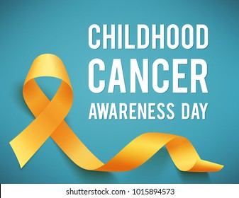Poster for childhood cancer awareness day with symbol realistic yellow ribbon, vector illustration