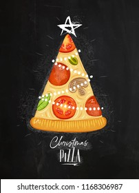 Poster christmas tree pizza with star on top with lettering drawing on chalkboard background.