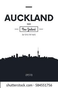 Poster city skyline Auckland, Flat style vector illustration