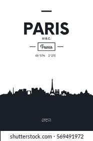 Poster city skyline Paris, Flat style vector illustration
