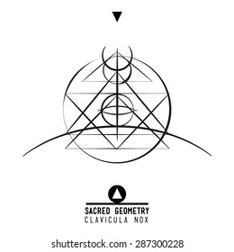 Poster - Clavicula Nox.Sacred geometry set of trendy vector Alchemy symbols collection on grunge background. Religion, philosophy, spirituality, occultism, science, magic. Design and tattoo elements.