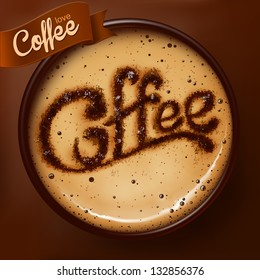 Poster with a coffee cup. Vector