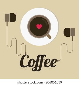 Poster with a coffee cup,vector,illustration.