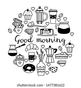 Poster with coffee elements (pot, coffee maker, mugs, cups, croissant, cupcake, donut, sugar, beans, pancakes).Circle concept.Flat line icons vector collection. Background for cafes, print, wallpaper