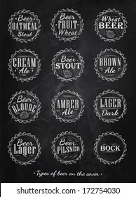 Poster collection of beer types caps in  retro style drawing with chalk on blackboard.