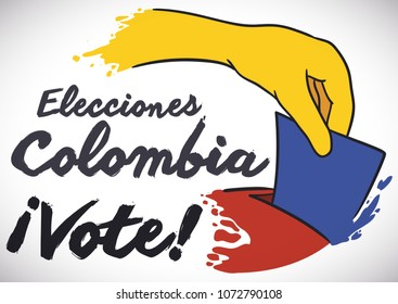 Poster with Colombian flag colors in splatters of different elements: voters hand, electoral paper and electoral box, promoting to participate in Colombia's Elections (written in Spanish).