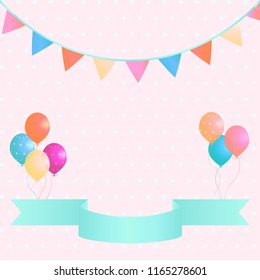 Poster with colorful balloons, pennants and ribbon on pink polka dot background. Vector illustration. Suitable for cards, banner, wedding, web, invitation, business, party.