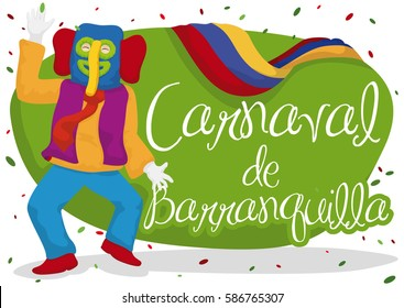Poster with colorful marimonda (traditional Colombian character) dancing in the Barranquilla's Carnival (written in Spanish) with confetti, Colombia flag and festive design.