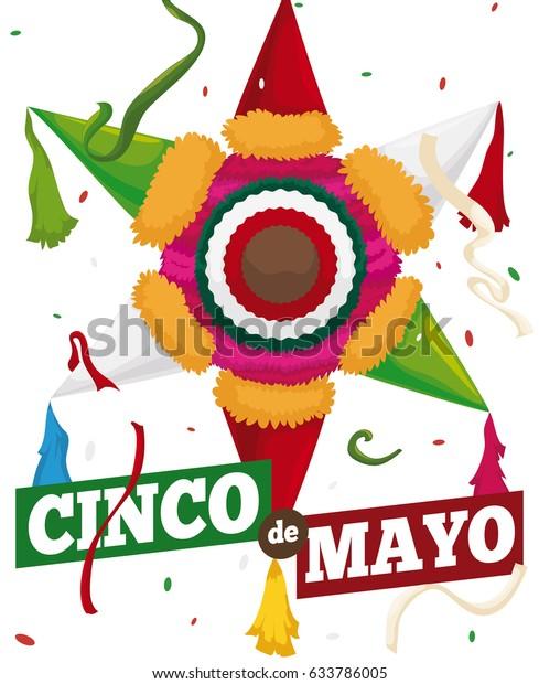 стоковая векторная графика Poster Colorful Pinata Mexican